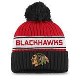 """Women's Fanatics Branded Red/Black Chicago Blackhawks Authentic Pro Locker Room Cuffed Knit Hat with Pom"""