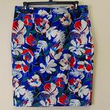 J. Crew Skirts | Floral Print Pencil Skirts | Color: Blue/Red | Size: 2