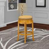 East West Furniture AMS030-416 Counter Height Bar Stool- Counter Height Bar Stool with Round Shape - Vegas Gold PU Leather Seat and 4 Solid Wood Curved Legs - Upholstered Bar Stool Oak Finish, 30