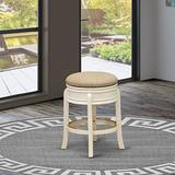 East West Furniture AMS024-202 Counter Height Kitchen Stool- Counter Height Stool with Round Shape - Sandalwood PU Leather Seat and 4 Wooden Curved Legs - Backless Bar Stool Linen White Finish