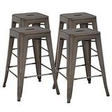 FDW 24 Inches Bar Stools Set of 4 Counter Stool Barstools Indoor/Outdoor Metal Bar Stools Stackable Modern Metal Bar Stools Kitchen Counter Stools Chairs (Bronze)