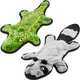 Frisco Flat Plush Squeaking Alligator Dog Toy, Medium & Frisco Flat Plush Squeaking Raccoon Dog Toy, Medium