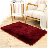 Faux Sheepskin Fur Fuzzy Rug with Rug Grippers for Burgundy Area Rug, 2x3 Ft Rectangle Small Furry Rugs, Alfombras para Habitacion, Fluffy Rug Fur Rugs for Bedroom, Living Room, Home Decor