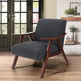 ALPHA HOME Accent Chair Modern Mid Century Retro Chair for Living Room Tufted Linen Fabric Upholstered Lounge Wood Chair with Solid Wood Frame Kitchen Dining Cafe Armchair with Backrest, Black