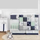 Sweet Jojo Designs Woodland Arrow Deer Baby Boy or Girl Nursery Crib Bedding Set - 5 Pieces - Navy Blue Mint and Grey Woodsy