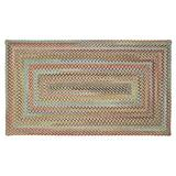 """Capel American Heritage Olive Tan 4' 0"""" x 6' 0"""" Concentric Rectangle Braided Rug"""