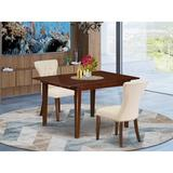 Winston Porter Hakana Butterfly Leaf Rubberwood Solid Wood Dining Set Wood/Upholstered Chairs in Brown, Size 30.0 H in   Wayfair