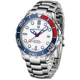 Pagani Design Mens Watches Automatic Waterproof Stainless Steel Wrist Watch for Men with Sapphire Glass Auto Date Homage Wrist Watch (Steel White 1667)