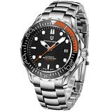 Pagani Design Mens Watches Automatic Waterproof Stainless Steel Wrist Watch for Men with Sapphire Glass Auto Date Homage Wrist Watch (Steel Orange 1667)
