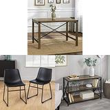 Walker Edison Wood and Metal Small Dining Table Kitchen Table Set Dining Chairs and Armless Indoor Kitchen Dining Chair with Wood Metal Bookcase Tall Bookshelf