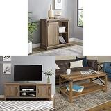 Walker Edison Furniture Modern Farmhouse Buffet Entryway Bar Cabinet Storage with Farmhouse Grooved Wood Stand with Cabinet Doors for TV's and Metal and Wood Rectangle Accent Coffee Table
