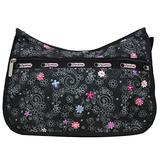 LeSportsac Le Petite Bouquet HAWAII EXCLUSIVE Classic Hobo Crossbody Bag + Cosmetic Bag, Style 7520/Color K065, Classic Black Bag Colorful Embroidered Flowers, Collector's Bag