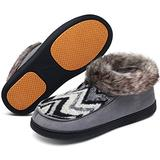 Mishansha Womens Winter Home Shoes Breathable Non-Slip House Slippers Warm Fleece Lining Bedroom Pantuflas Sliver Grey Size 9 US