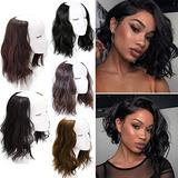 12 Inch Clip in Hair Extensions One Piece Wavy Full Head Extensions U Shape Hair Extensions Curly Secret Synthetic Hair Extension for Women Add Hair Volume Linen Brown