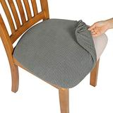 Comqualife Dining Chair Covers, Stretch Jacquard Dining Chair Protector, Removable Washable Anti-Dust Upholstered Chair Seat Cover for Dining Room, Kitchen, Office(Set of 4, Grey)
