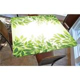 Leaves Polyester Fitted Tablecloth,Modern Style Print Frame of Tree Leaves Branches Feng Shui Home Office Illustration Decorative Square Elastic Edge Fitted Table Cover,Fits Square Tables 48x48 Green