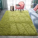 Pacapet Fluffy Area Rugs, Green Shag Rug for Bedroom, Plush Furry Rugs for Living Room, Fuzzy Carpet for Kid's Room, Nursery, Home Decor, 4 x 5.9 Feet