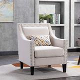 Henf Accent Chair Living Room Chair with Nailhead Trim Upholstered, Linen Fabric Accent Armchair with Padded Seat, Solid Wood Legs, Beige