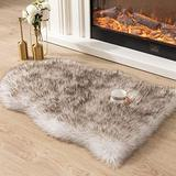 Asrug Super Soft Fluffy Shaggy Faux Fur Rug No Shedding Faux Sheepskin Chair Cover Seat Pad Sofa Pad Couch Pad Fuzzy Plush Area Rug for Living Room Bedroom, 2ft x 3ft, White with Brown Tips