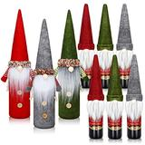 9 Pieces Christmas Tomte Gnomes Wine Bottle Cover and Gnome Wine Bottle Topper Handmade Swedish Decorative Santa Claus Bottle Bags Toppers for Christmas Dining Table Party Decorations