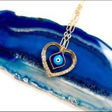 Urban Outfitters Jewelry | Evil Eye Necklace, Hamsa, Heart, Protection, Boho | Color: Gold | Size: Os