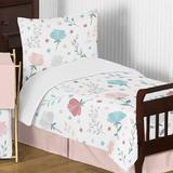 Sweet Jojo Designs Pop Rose 5 Piece Toddler Bedding Set Polyester in Blue/Pink/White | Wayfair PopFloral-PK-BU-Tod