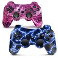 PS3 Controller Wireless Bluetooth Gamepad für PlayStation 3 Dual Vibration Game Controller Fernbedienungen Sixaxis Wireless PS3 Controller mit Ladekabel (Blau & Lila)