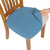 Comqualife Dining Chair Covers, Stretch Jacquard Dining Chair Protector, Removable Washable Anti-Dust Upholstered Chair Seat Cover for Dining Room, Kitchen, Office(Set of 6, Smoky Blue)