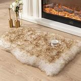 Asrug Super Soft Fluffy Shaggy Faux Fur Rug No Shedding Faux Sheepskin Chair Cover Seat Pad Sofa Pad Couch Pad Fuzzy Plush Area Rug for Living Room Bedroom, 2ft x 3ft, White with Golden Tips