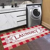 Abreeze Vintage Floor Mat for Washroom Non Skid Rug Buffalo Plaid Rug Waterproof Bathroom Rug Laundry Room Mats 20x48,Laundry Rug,red