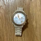 Michael Kors Jewelry | Michael Kors Diamond Wrist Watch | Color: Cream/White | Size: Os