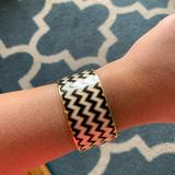 Kate Spade Jewelry | Kate Spade Enamel Black And White Chevron Bangle | Color: Black/White | Size: Os