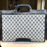 Gucci Bags | Gucci Women'S Vintage Navy Briefcase | Color: Blue/Cream | Size: 15l X 13w X 4d