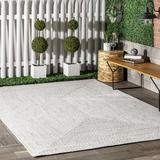 Sand & Stable™ Mariam Hand Braided Ivory Indoor/Outdoor Area Rug Polypropylene in Brown/White, Size 90.0 W x 0.31 D in   Wayfair
