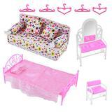 Felenny 8PCS Dollhouse Furniture Barbie Princess Furniture Accessories Set Dresser Stool Sofa Bed Hangers Kids Gift for Barbie Doll