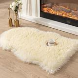 Asrug Super Soft Fluffy Shaggy Faux Fur Rug No Shedding Faux Sheepskin Chair Cover Seat Pad Sofa Pad Couch Pad Fuzzy Plush Area Rug for Living Room Bedroom, 2ft x 3ft, Light Yellow