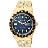 Timex 38 mm Q Timex Black/Blue 3-H Gold Case Blue Dial Gold Bracelet Gold/Blue/Gold One Size