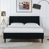 Sandy Wilson Home Marlowe Upholstered Platform Bed Set, Queen, Anthracite Black Velvet