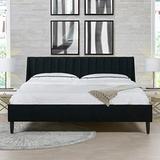 Sandy Wilson Home Marlowe Upholstered Platform Bed Set, King, Anthracite Black Velvet