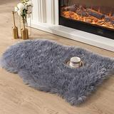 Asrug Super Soft Fluffy Shaggy Faux Fur Rug No Shedding Faux Sheepskin Chair Cover Seat Pad Sofa Pad Couch Pad Fuzzy Plush Area Rug for Living Room Bedroom, 2ft x 3ft, Grey