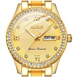 Gold Watches for Men,OLEVS Watches Men Diamond Watches for Men Casual Classic Waterproof 14K Gold Plated Stainless Steel Quartz Luxury Dress Men's Wrist Watches with Day and Date,relojes de Hombre
