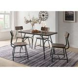Williston Forge Spires 5 - Piece Counter Height Dining Set Wood/Metal in Black/Brown/Gray, Size 34.0 H x 31.0 W x 49.0 D in | Wayfair