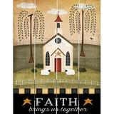 Harper Orchard Primitive Faith Brings Us Together - Unframed Graphic Art Print on Wood Wood in Black/Brown/Green, Size 12.0 H x 9.0 W x 1.0 D in