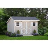 Little Cottage Company Saltbox 12 ft. W x 12 ft. D Solid Wood Storage Shed in Brown/Gray/White, Size 102.0 H x 144.0 W x 144.0 D in | Wayfair