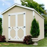 Little Cottage Company Classic 10 ft. W x 18 ft. D Solid Wood Storage Shed in Brown/White, Size 113.0 H x 120.0 W x 216.0 D in | Wayfair