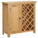 """vidaXL Wine Cabinet for 11 Bottles 31.5""""x12.6""""x31.5"""" Solid Oak Wood"""