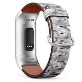 Compatible with Fitbit Charge 4, Charge 3, Charge 3 SE - Replacement Leather Wristband Watch Band Strap Bracelet for Men and Women - Digital Pixel Camouflage
