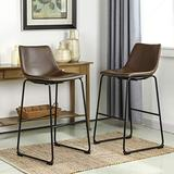 Glitzhome Bar Stools PU Leather Counter Height Stool, Modern Style Upholstery with Metal Leg and Backrest Armless Bar Chairs, Dining Chairs for Pub Living Room Kitchen, Set of 2, Brown