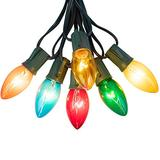 C9 Bulb String Lights Outdoor 50 Feet Multicolored Christmas Lights Green Wire for Outdoor Patio Room Christmas Tree Party Backyard Decoration, E17 Base, 50 Bulbs