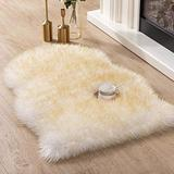 Asrug Super Soft Fluffy Shaggy Faux Fur Rug No Shedding Faux Sheepskin Chair Cover Seat Pad Sofa Pad Couch Pad Fuzzy Plush Area Rug for Living Room Bedroom, 2ft x 3ft, White with Beige Tips